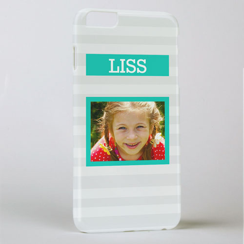 Grey Stripe Personalized Photo iPhone 6+ Case