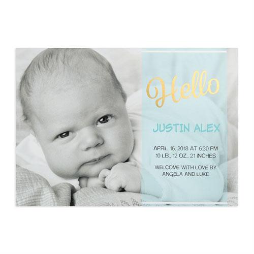 Script Hello Foil Gold Personalized Photo Boy Birth Announcement, 5X7 Cards