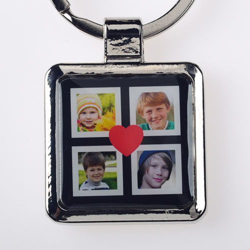 Black Four Collage Personalized Square Metal Keychain (Small)