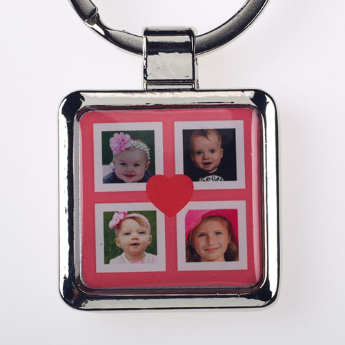 Red Four Collage Personalized Square Metal Keychain (Small)