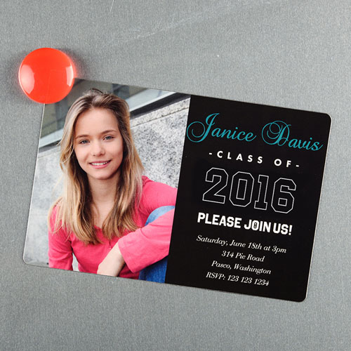 personalized graduation announcement magnet pink large