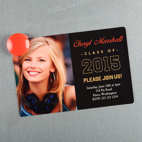 personalized graduation announcement magnet gold large