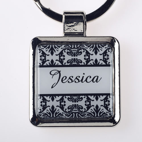 Damask Personalized Square Metal Keychain (Small)