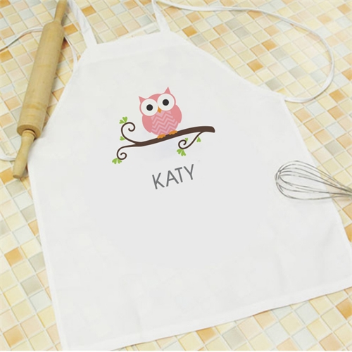 Pink Owl Personalized Kids Apron