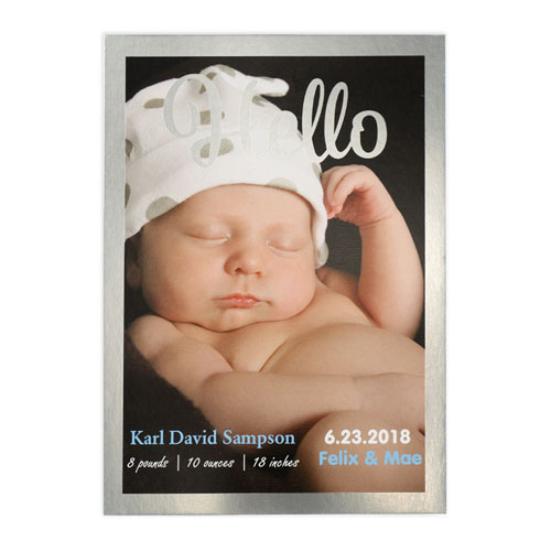 Hello Foil Silver Frame Personalized Photo Birth Announcement, 5X7 Cards