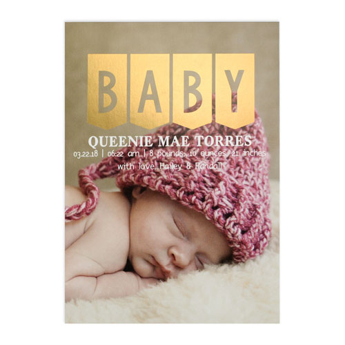 Baby Gold Foil Personalized Photo Birth Announcement Card, 5x7