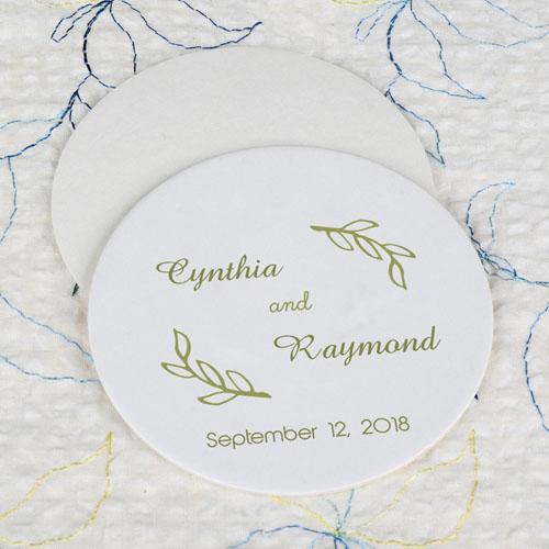Round Fern Wedding Cardboard Coaster