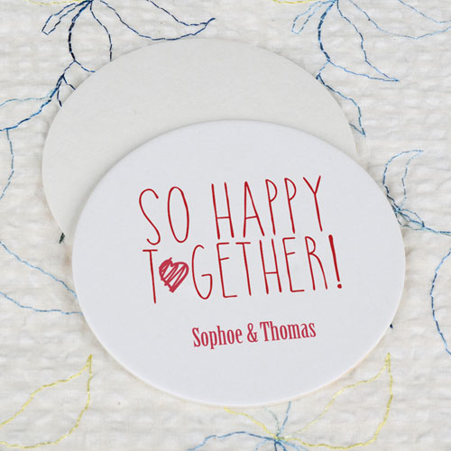 Round So Happy Together Cardboard Coaster Custom Print
