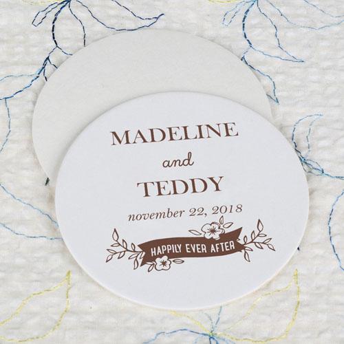 Happy Ever After Cardboard Round Coaster Custom Print