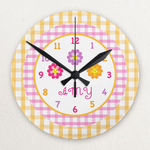 Cute Flower Personalized Acrylic Clock Custom Printed