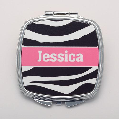 Zebra Skin Pink Personalized Round Compact Mirror