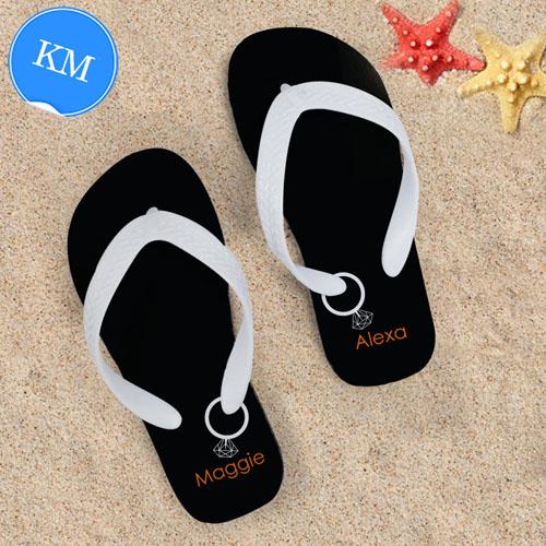 07d6e9d79121f5 Black Wedding Ring Personalized Flip Flops White Straps