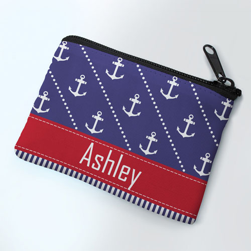 Red Anchor Personalized Coin Purse