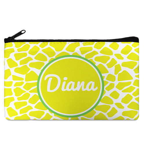 Lemon Leopard Personalized Cosmetic Bag