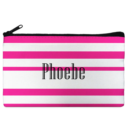 Fuchsia Stripe Personalized Cosmetic Bag