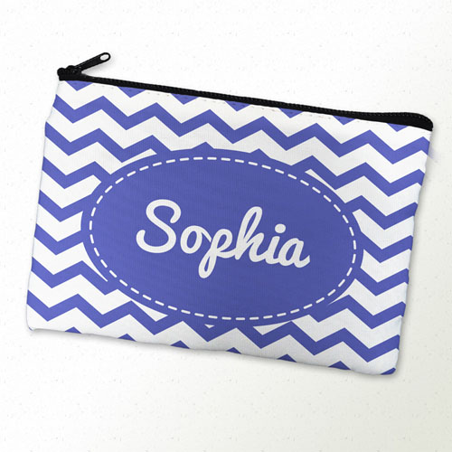 White Blue Chevron Personalized Cosmetic Bag