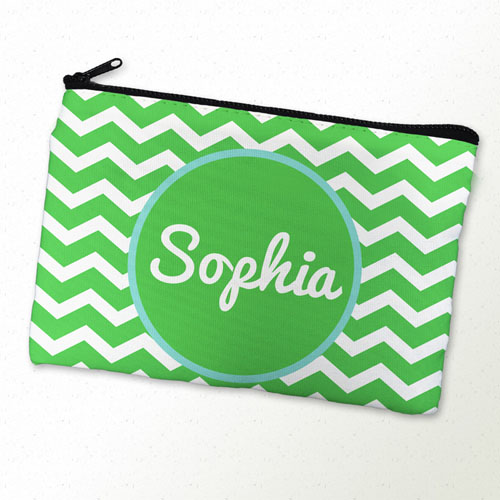 Monogrammed Personalized Green Chevron Cosmetic Bag