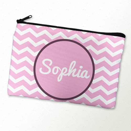 Monogrammed Personalized Pink Chevron Cosmetic Bag