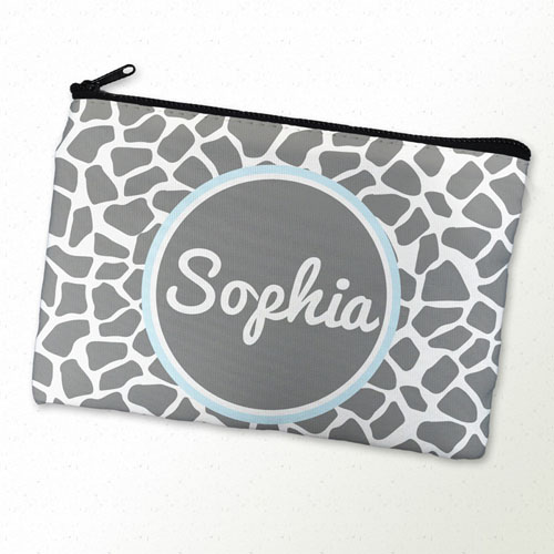 Grey Leopard Personalized Cosmetic Bag