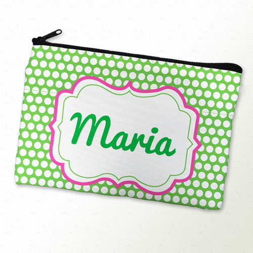 Lime Dots Personalized Cosmetic Bag