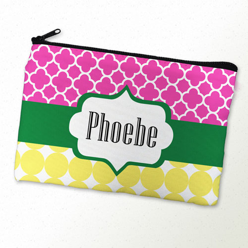 Fuchsia And Mustard Personalized Cosmetic Bag