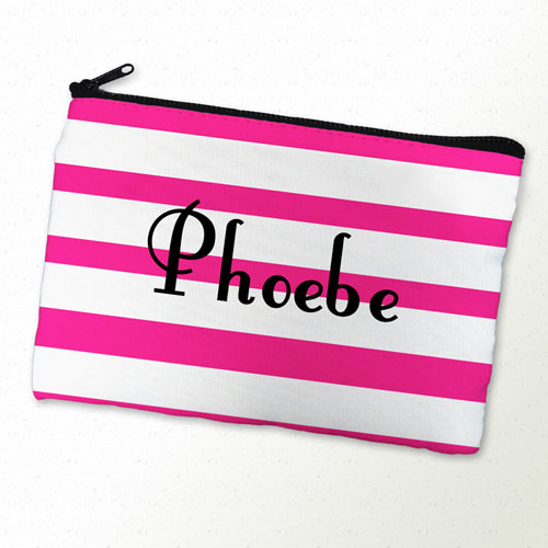 Fuchsia Stripe Personalized Cosmetic Bag