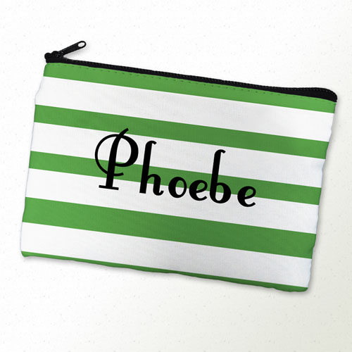 Green Stripe Personalized Cosmetic Bag