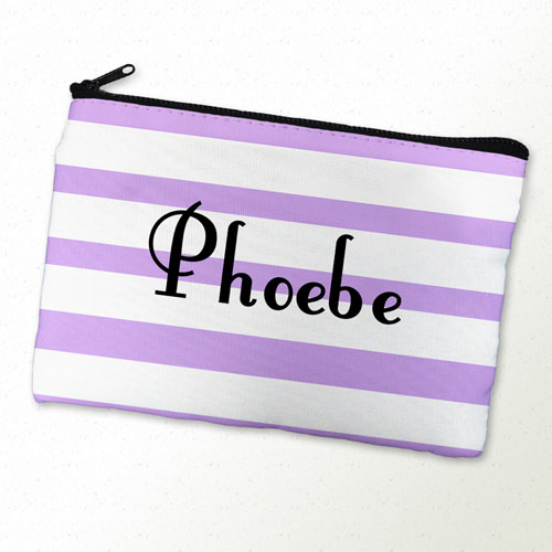 Lavender Stripe Personalized Cosmetic Bag
