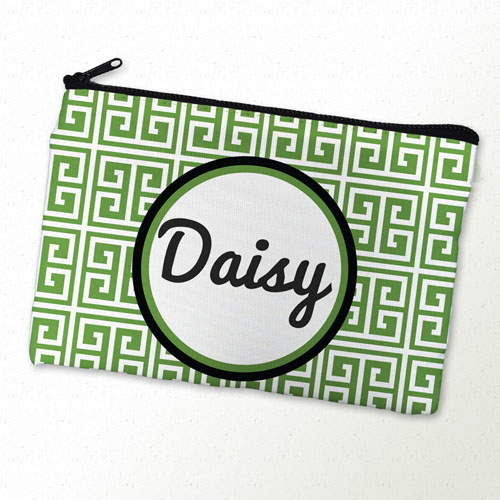 Green Grid Personalized Cosmetic Bag