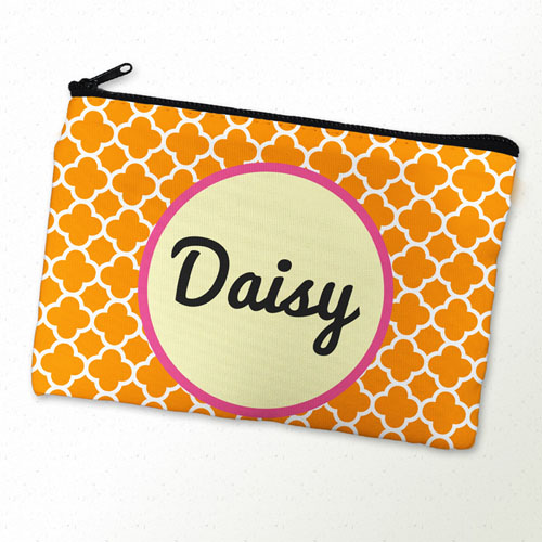 Orange Clover Personalized Cosmetic Bag