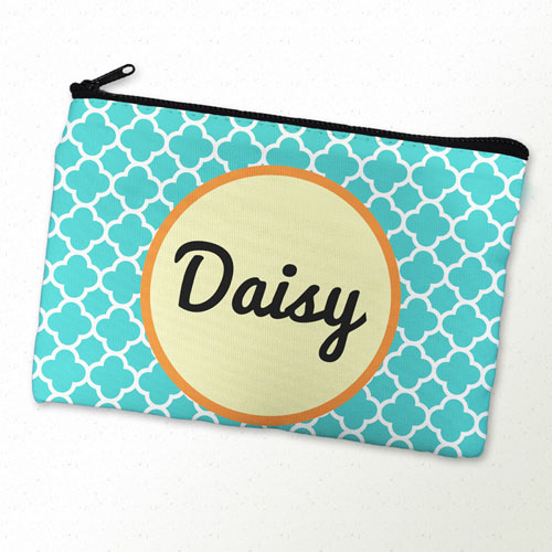 Aqua Clover Personalized Cosmetic Bag