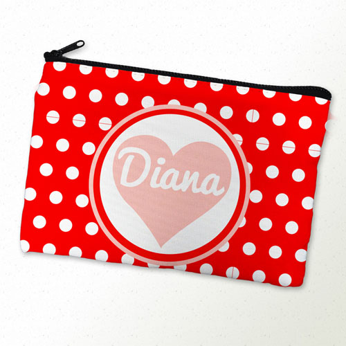 Red Dot And Heart Personalized Cosmetic Bag