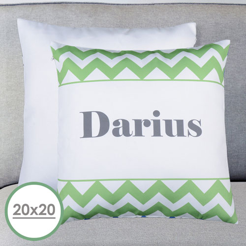 20 X 20 Green Chevron Personalized Pillow  Cushion (No Insert)