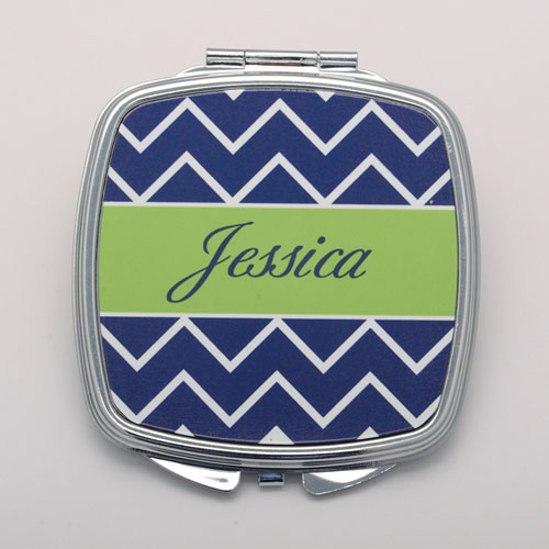 Navy Chevron Lime Personalized Square Compact Mirror
