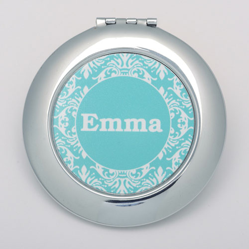 Teal Damask Personalized Round Compact Mirror