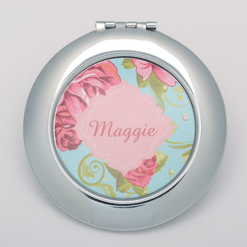 Vintage Rose Personalized Round Compact Mirror