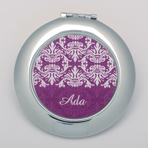 Plum Damask Round Personalized Compact Mirror