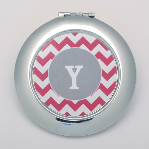 Plum Chevron Personalized Round Compact Mirror