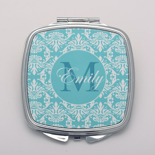 Teal Damask Personalized Square Compact Mirror