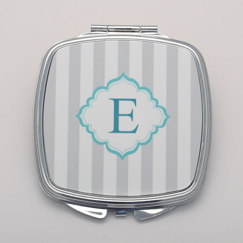 Monogrammed Grey Stripe Personalized Square Compact Mirror