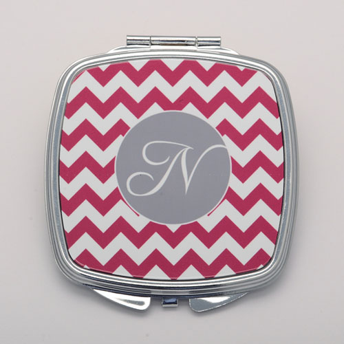 Plum Chevron Personalized Square Compact Mirror