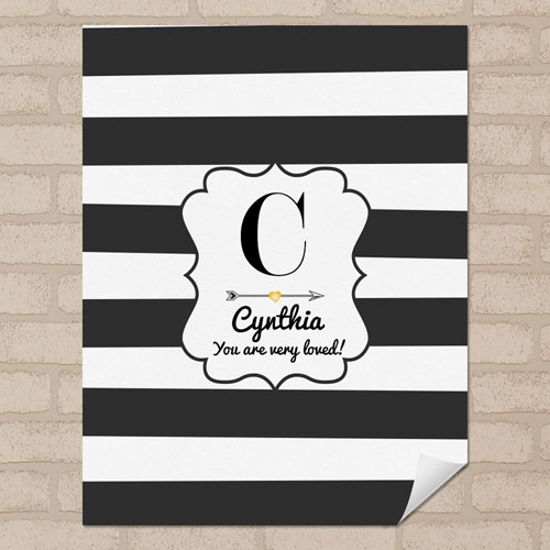 Stripes Personalized Name Poster Print Small 8.5