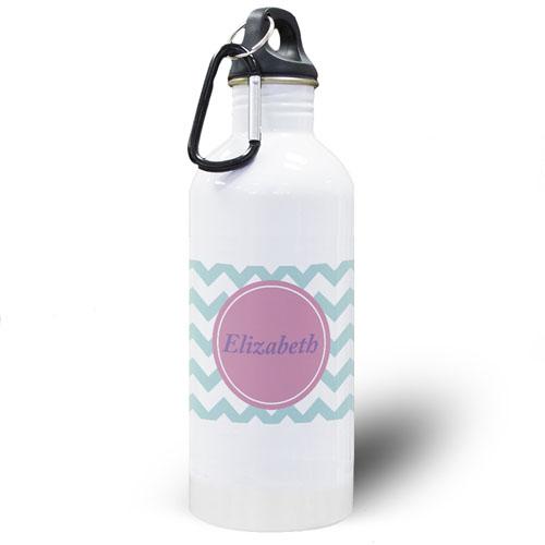 Aqua Chevron Personalized Water Bottle