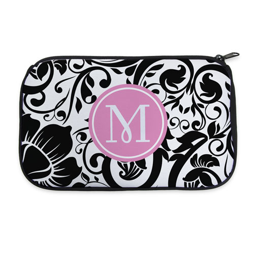 Black Floral Personalized Neoprene Cosmetic Bag