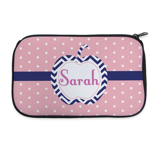 Polka Dot And Apple Personalized Neoprene Cosmetic Bag