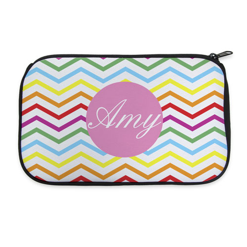 Rainbow Chevron Personalized Neoprene Cosmetic Bag