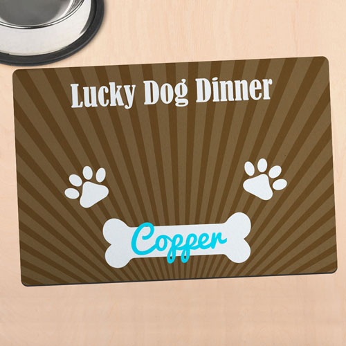 Lucky Dog Dinner Personalized Meal Mat