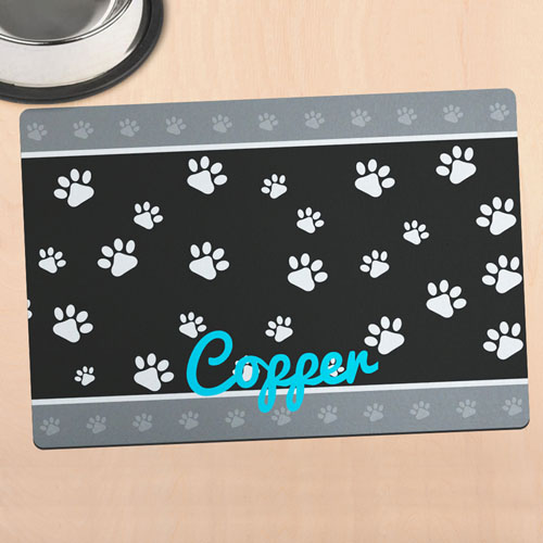 Paw Border Personalized Meal Mat