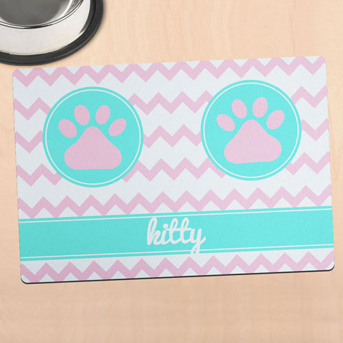 Chevron Personalized Pet Meal Mat