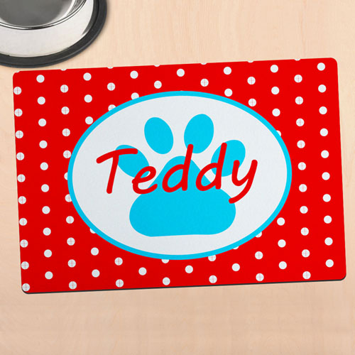 Red Polka Dot Personalized Paw Meal Mat